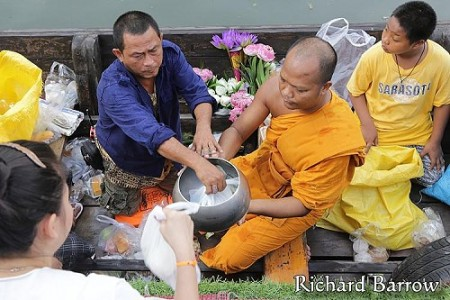 Alms Giving by Boat in Bangkok on Wednesday