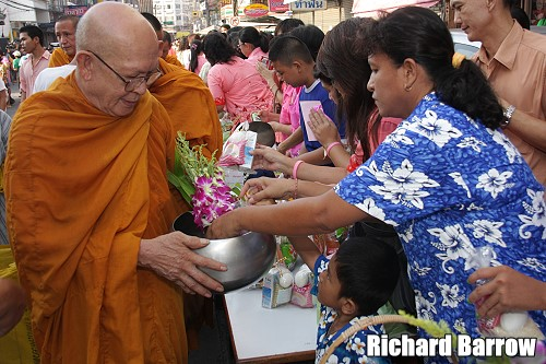 Offer Alms to Monks on Songkran Day