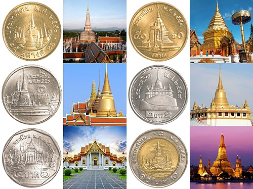 Six Thai Temples on Six Thai Coins