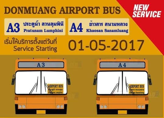 Don Mueang Airport Bus now goes to Lumpini Park and Khao San Road