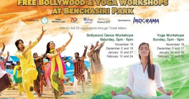 Free Bollywood and Yoga workshops in Benjasiri Park in Bangkok